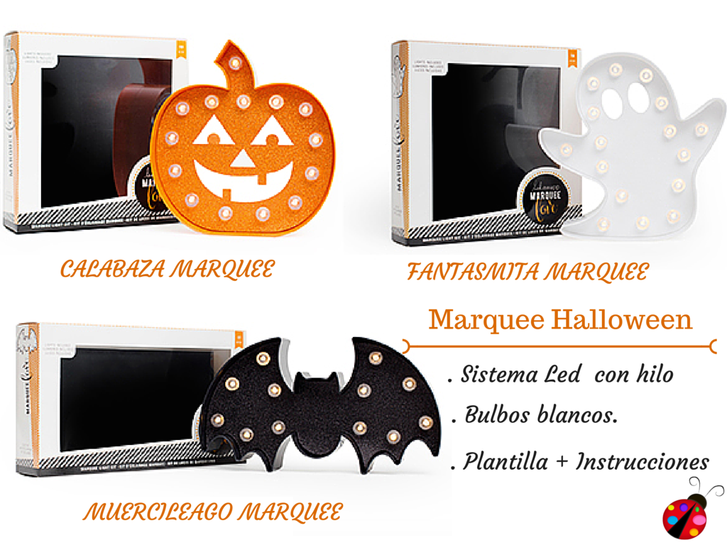 madera con luces haloween