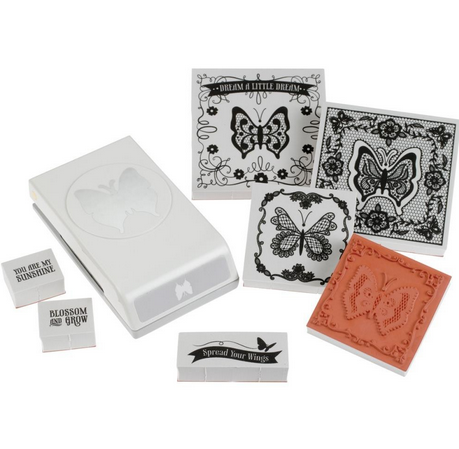 Kit troquel y sellos de caucho Stamp and Punch Lace Butterfly