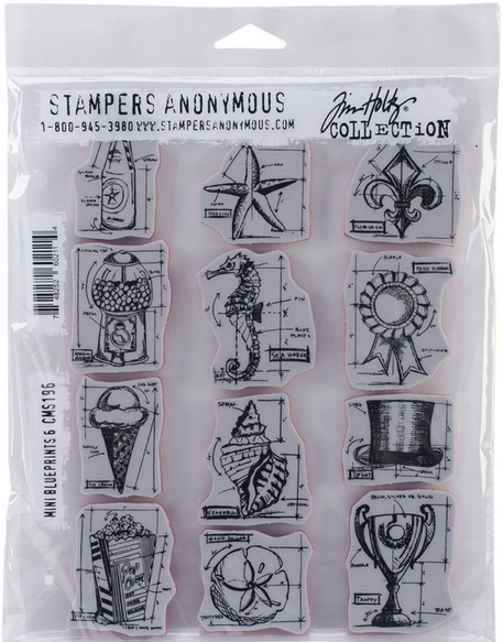 Sellos de Caucho Mini Blueprints 6 de Tim Holtz