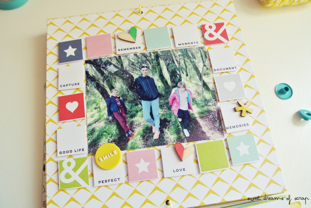 Página de un album de pared con scrapbooking