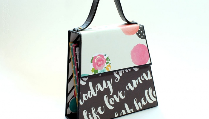 Mini Album Bolso con Scrapbooking