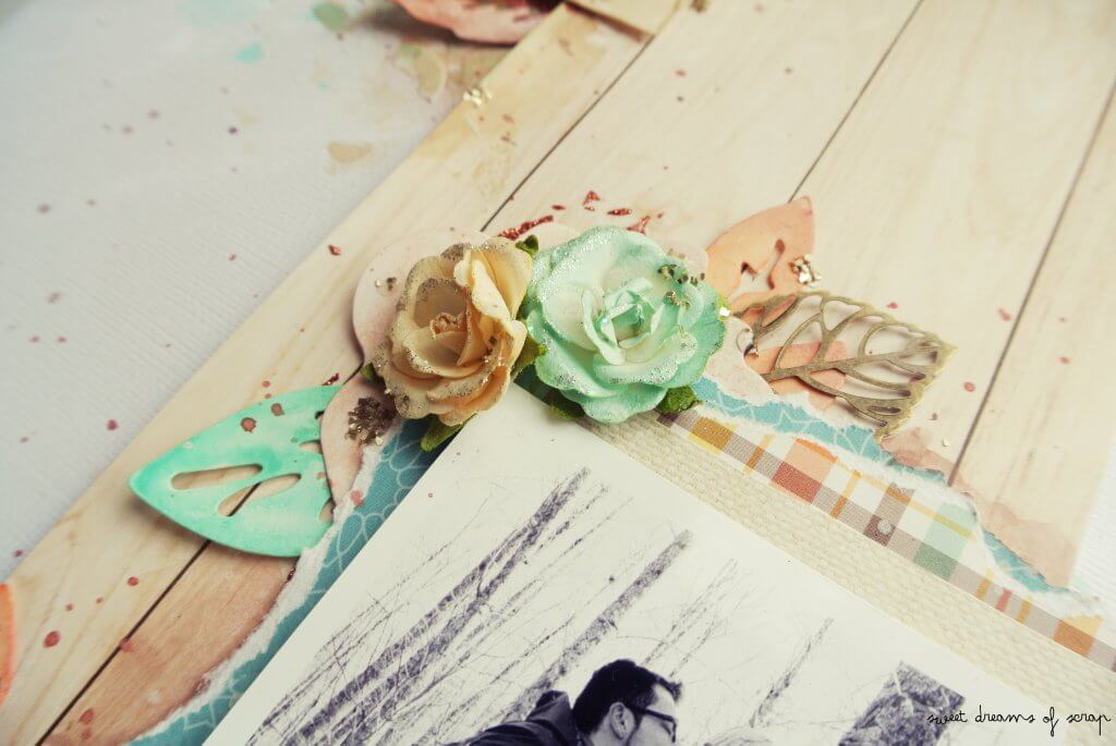 Layout con flores mixed media