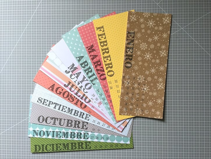 Decoración calendario scrapbooking
