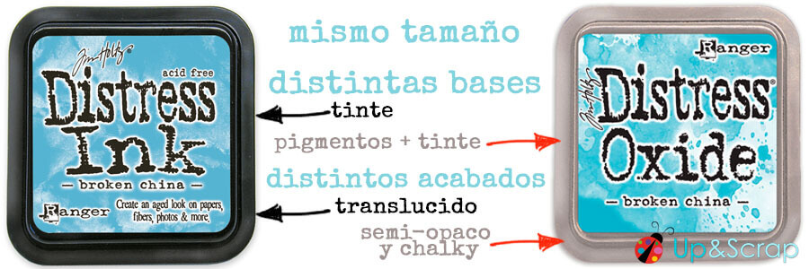 Comparativa Distress Ink y Distress Oxide