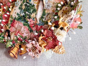 Bastidor navideño mix media detalles 1