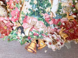 Bastidor navideño mix media detalles 3