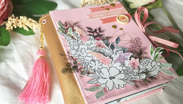 Mini álbum scrapbook con polipiel