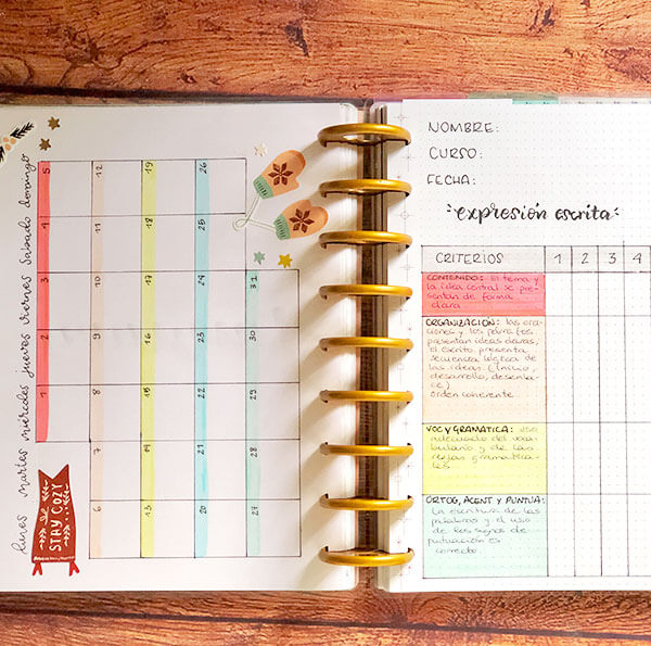 Imprescindibles bullet journal para profesores: mes vista