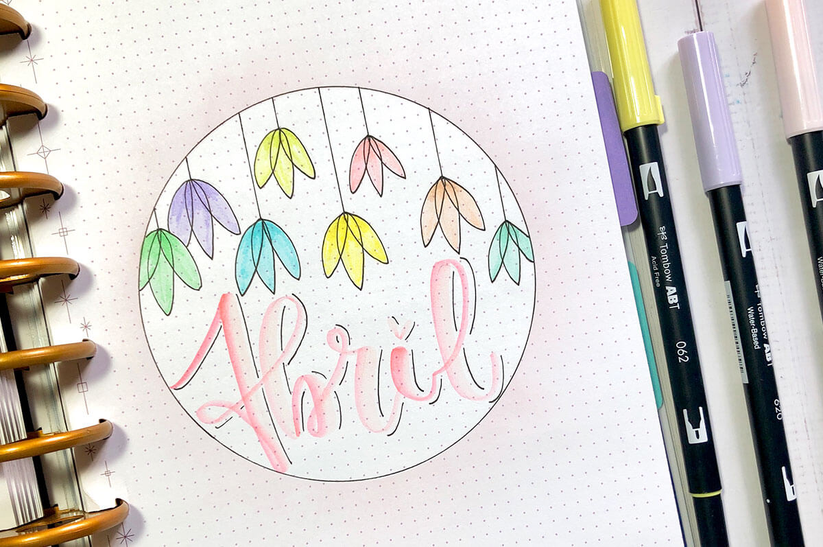 Portada de abril del Bullet Journal de abril