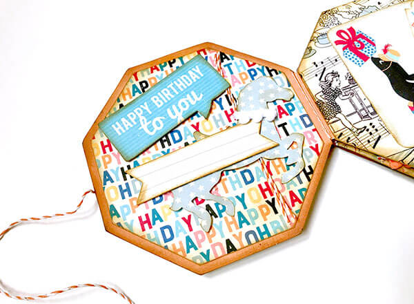Mini album de scrapbooking con Hooray de Authentique: páginas 3-4